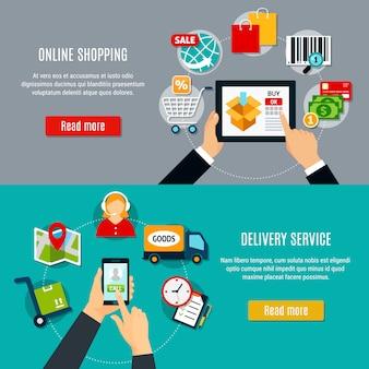 Compras en línea y pancartas de entrega