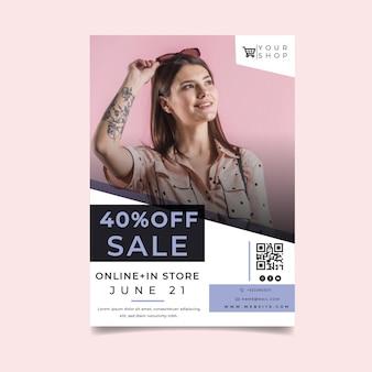 Compras en línea con plantilla de póster modelo