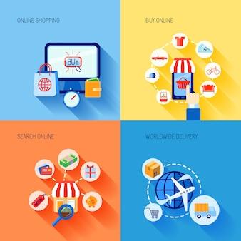 Las compras en línea que compran elementos de comercio electrónico conjunto de composición con la búsqueda de entrega en todo el mundo aislado ilustración vectorial
