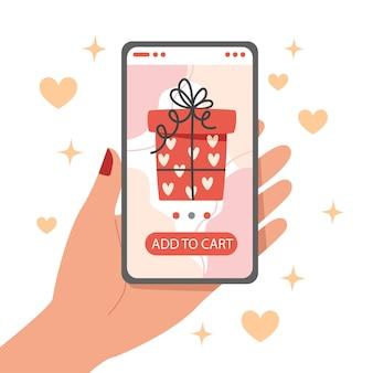 Compras en línea para regalos de san valentín usando un teléfono inteligente