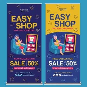 Compras en línea roll up banner print template en flat design style