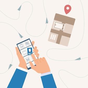 Compras en línea, seguimiento del estado de entrega con aplicación de teléfono móvil