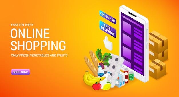 Compras en línea, servicio de entrega de pedidos, página de inicio de la tienda de internet con cajas de isometría de cartón y carro, ilustración.