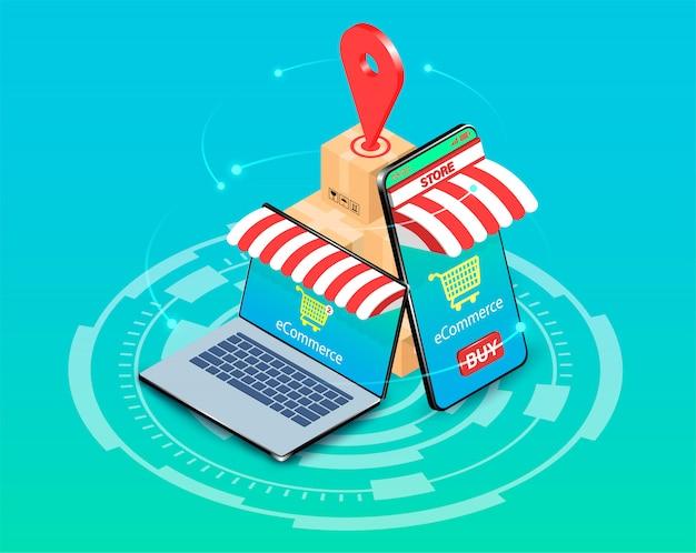 Compras en línea con el sistema de comercio electrónico en teléfonos inteligentes y computadoras portátiles. diseño plano isométrico