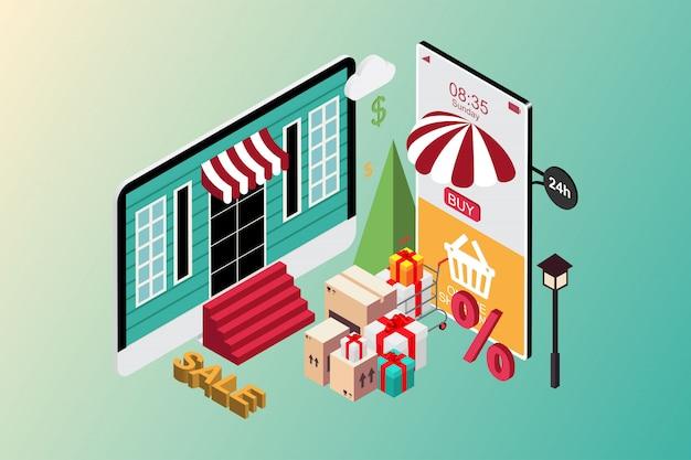 Compras en línea en el sitio web y aplicación móvil, banner promocional. estilo isométrico plano