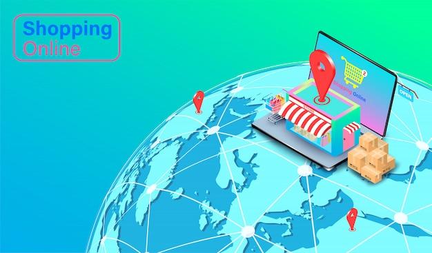 Compras en línea en el sitio web o aplicación de computadora portátil. carro de compras con entrega rápida global. diseño plano isométrico
