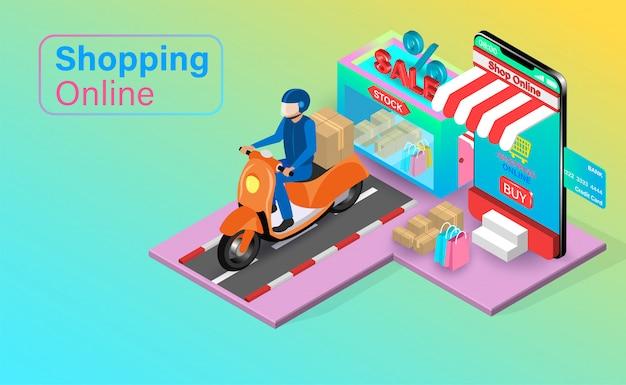 Compras en línea en el sitio web o aplicación móvil con carrito de crédito. carro de compras con entrega rápida en scooter. diseño plano isométrico