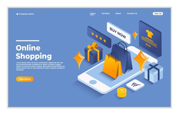 Compras en línea en el sitio web o aplicación móvil concepto isométrico de página de destino de compras digitales