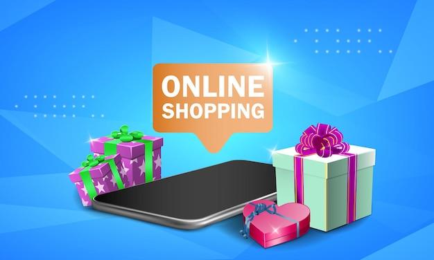Compras en línea en el sitio web o aplicación móvil concepto de vector ilustración de marketing