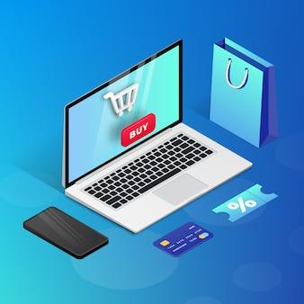 Compras en línea en el sitio web o la aplicación móvil. ilustración de marketing de concepto isométrico 3d. ordenador portátil, smartphone, bolsa de compras sobre fondo azul. para banner web, infografías, presentaciones.