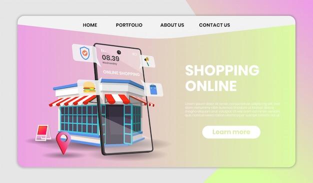 Compras en línea en el sitio web o aplicación móvil con tienda minorista concept marketing