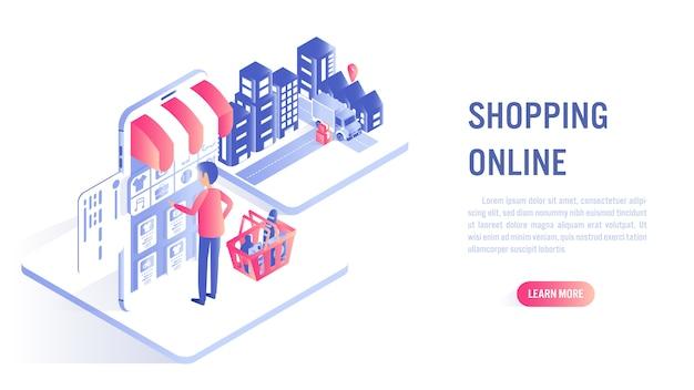 Compras en línea en el sitio web o el concepto de aplicación móvil. llamado a la acción o plantilla de banner web