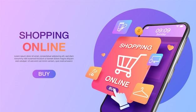 Compras en línea en el sitio web o en la página de inicio del concepto de marketing móvil y marketing digital.