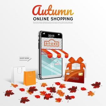 Compras en línea en sitios web o tarjetas de crédito blancas móviles