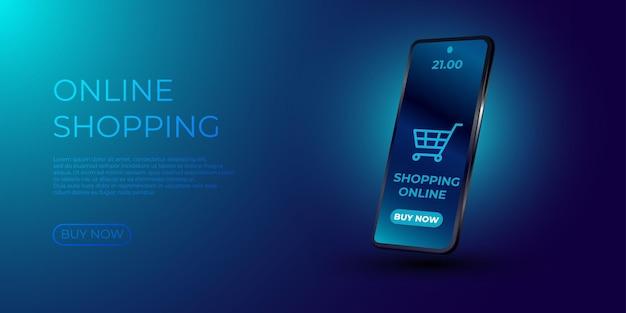 Las compras en línea. smartphone convertido en tienda de internet.