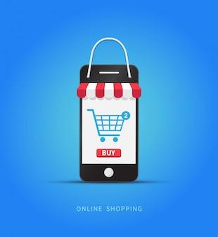 Compras en línea con smartphone.