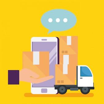 Compras en línea con teléfono inteligente y paquetes con entrega