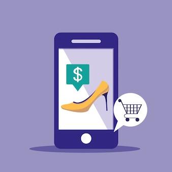 Compras en línea con teléfono inteligente y zapato de tacón de mujer