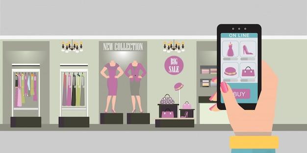 Compras en línea con teléfono inteligente.