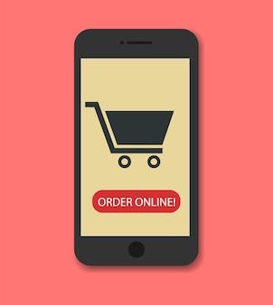 Compras en línea en teléfonos inteligentes.