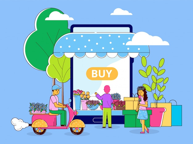 Compras en línea de la tienda de flores, ilustración del vector. los personajes eligen plantas hermosas en la tienda móvil. mujer y hombre compran cosas