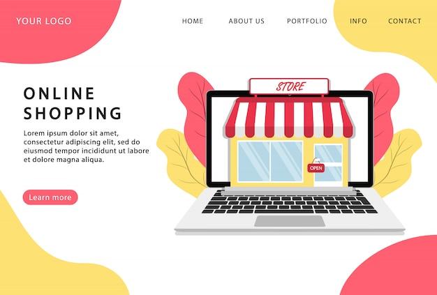 Las compras en línea. tienda en línea. quedarse en casa. página de destino. páginas web modernas para sitios web.