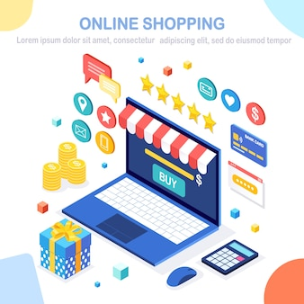 Compras en línea, venta. compra en tienda minorista por internet. computadora isométrica, computadora portátil con dinero, tarjeta de crédito, revisión del cliente, comentarios, caja de regalo, sorpresa.