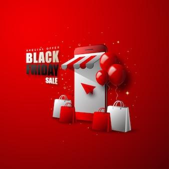 Compras en línea de viernes negro, teléfonos inteligentes y globos modernos.