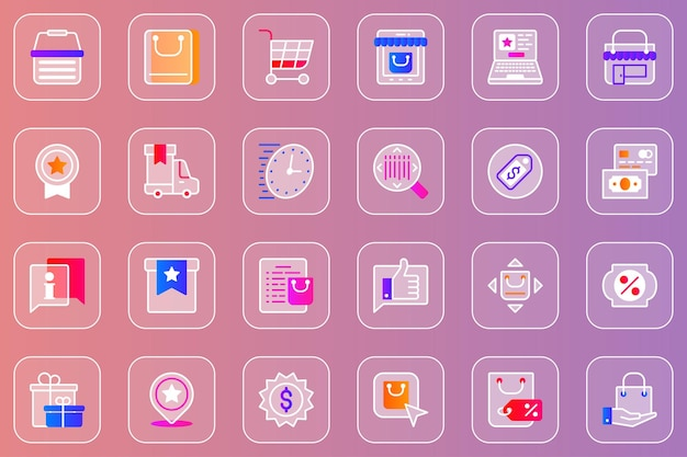 Compras en línea, web, glassmórfico, iconos, conjunto