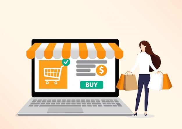 Las compras en línea .