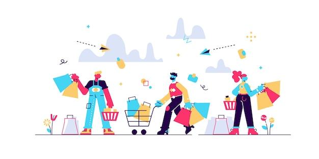 Compras locura multitud plana personas diminutas concepto ilustración. black friday o una venta superior ofrecen un aumento de las ventas y el crecimiento empresarial. clientes felices con bolsas, cajas y nuevos productos en carrito.