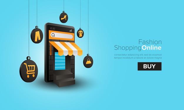 Compras de moda en línea en el móvil