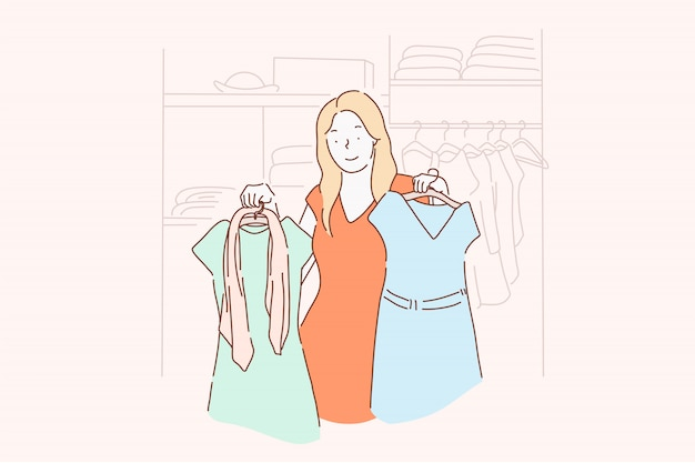 Compras, moda, vestido, concepto de ropa.