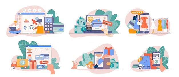 Compras móviles desde la aplicación de teléfono inteligente y pago en línea