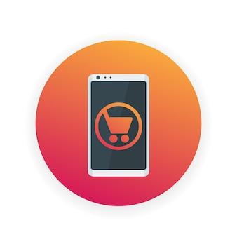 Compras móviles, comercio electrónico, teléfono inteligente con icono de carrito