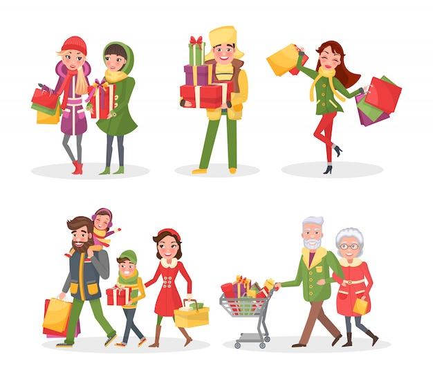 Compras navideñas, familiares y amigos