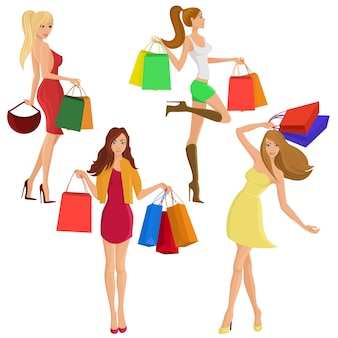 Compras niña sexy figuras femeninas sexy con bolsas de moda venta aislados ilustración vectorial