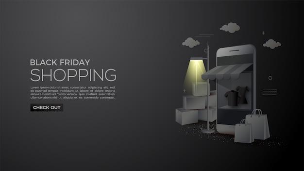 Compras online de black friday con matices por la noche