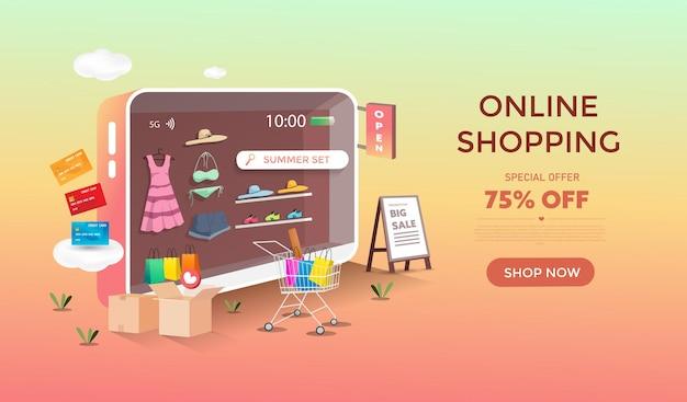 Compras online con diseño de tienda móvil. banner de descuento y promoción.