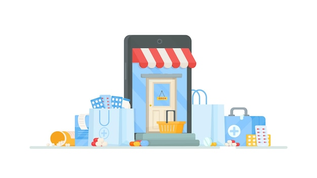 Compras y pedidos de la farmacia al hospital. ilustración de entrar en una tienda con pastillas y medicamentos. compras online en internet.