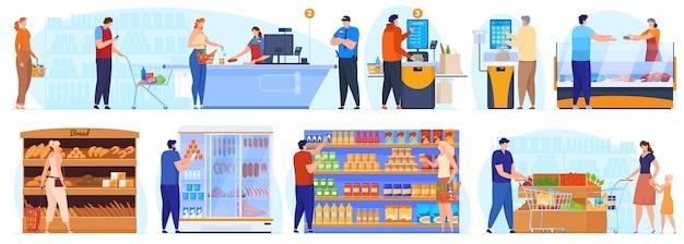 Compras en el supermercado las personas hacen fila en la caja personas en los estantes en la ilustración del supermercado