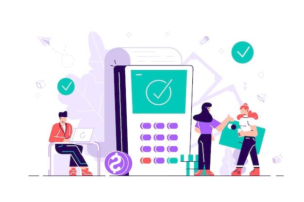 Compras. terminales de pago de concepto con marcas de verificación en la pantalla