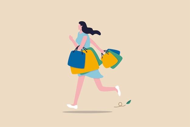 Compras en la tienda minorista, felicidad y alegría de comprar cosas con descuento, adicto a las compras o concepto de moda, mujer elegante y alegre caminando y llevando muchas bolsas de compras.