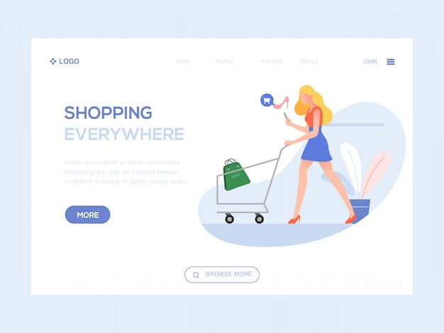 Compras en todas partes ilustración web