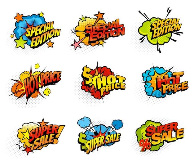 Compras venta promoción semitono comic bubbles