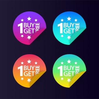 Compre 1 y obtenga 1 diseño de vector de icono de etiqueta roja.