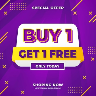 Compre 1 obtenga 1 plantilla de banner de contenido de publicación de marketing en redes sociales gratis