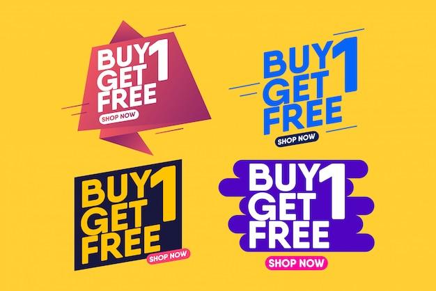 Compre 1 y obtenga 1 plantilla de etiqueta de venta gratuita. plantilla de diseño de banner para marketing.