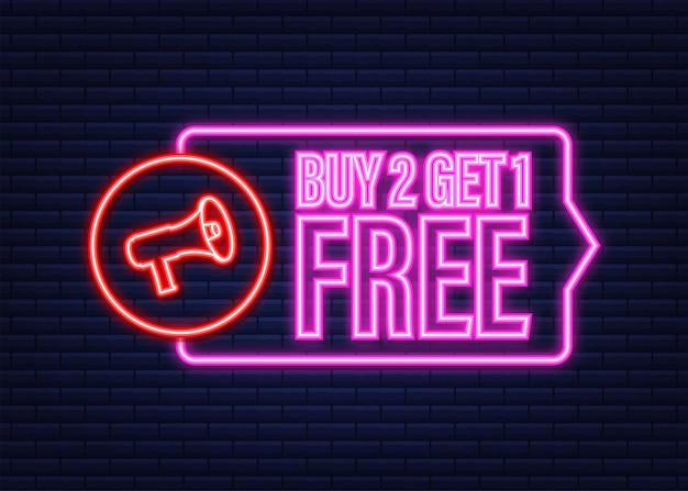 Compre 2 y obtenga 1 gratis, etiqueta de venta, plantilla de diseño de banner. icono de neón. ilustración de stock vectorial.