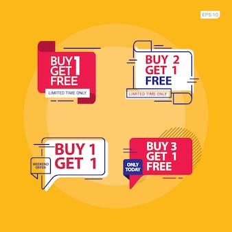 Compre 2 y obtenga 1 plantilla gratis. conjunto de banners